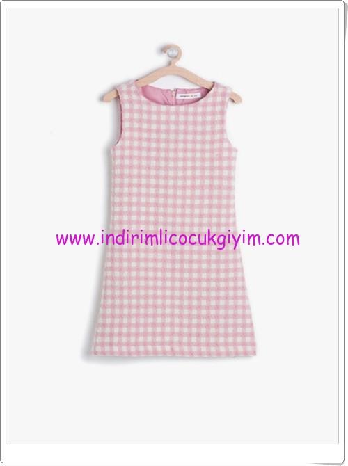 Koton kız çocuk pembe kareli jile elbise-20 TL