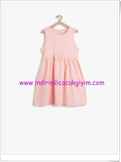 Koton kız çocuk pudra fiyonk detaylı elbise-11 TL