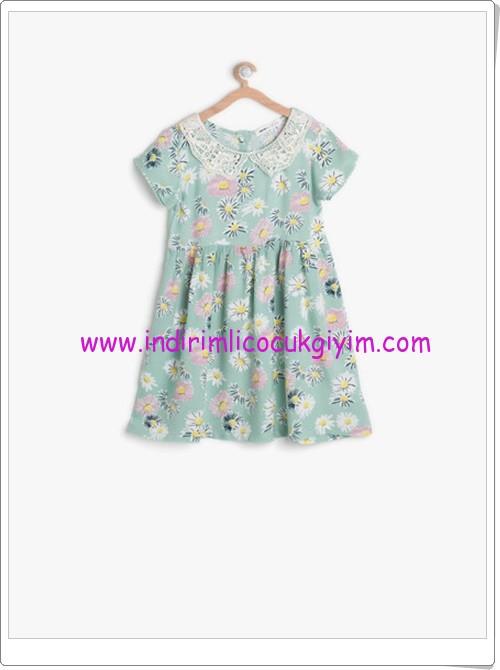 Koton kız çocuk yeşil çiçek desenli elbise-33 TL