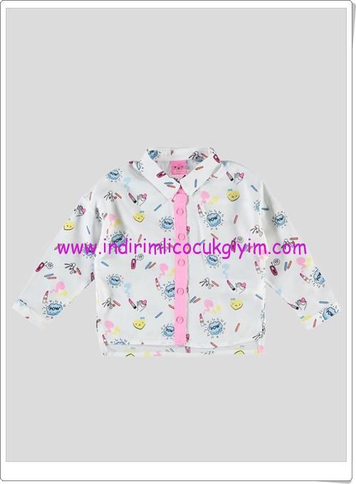 LCW kız çocuk beyaz renkli desenli gömlek-27 TL