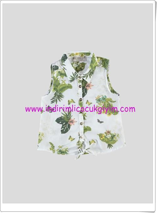 LCW kız çocuk ekru kolsuz desenli bluz-20 TL