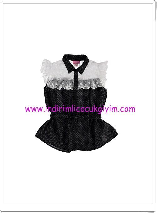 LCW kız çocuk tül detaylı siyah gömlek-30 TL