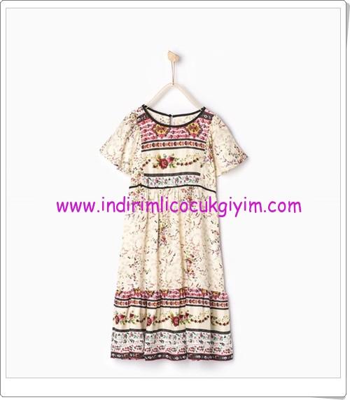 Zara kız çocuk ekru çiçekli elbise-80 TL