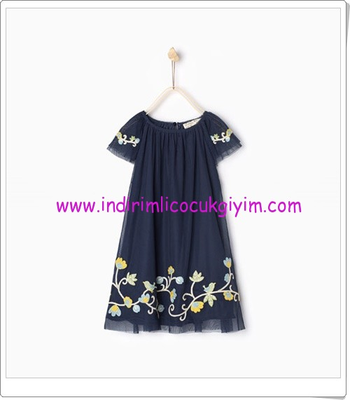 Zara kız çocuk lacivert floral işlemeli elbise-80 TL