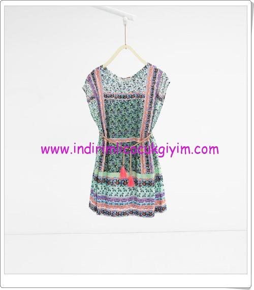 Zara kız çocuk mint floral desenli elbise-80 TL