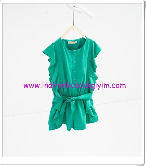 Zara kız çocuk yeşil beli büzgülü tulum-80 TL