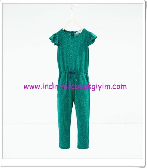Zara kız çocuk yeşil puanlı tulum-56 TL