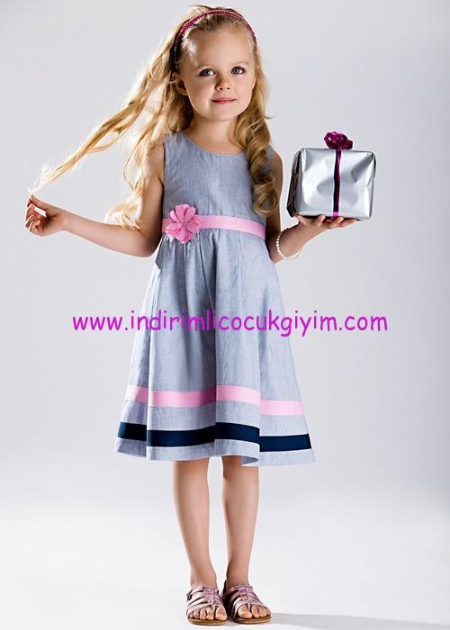 Bonprix açık mavi çizgili kız çocuk elbise