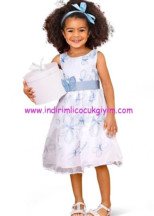 Bonprix beyaz kelebekli kız çocuk elbise