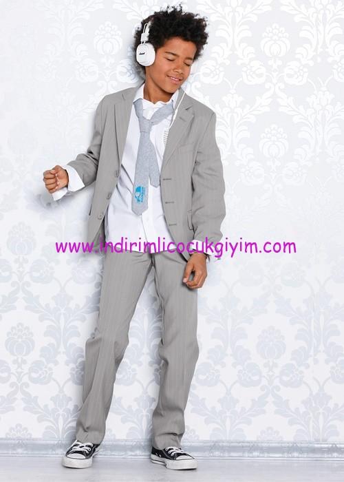 Bonprix erkek çocuk gri çizgili takım elbise