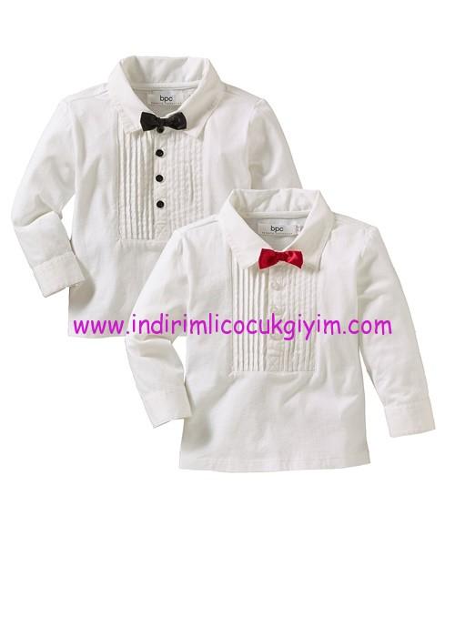 Bonprix erkek çocuk papyonlu beyaz tişört modelleri