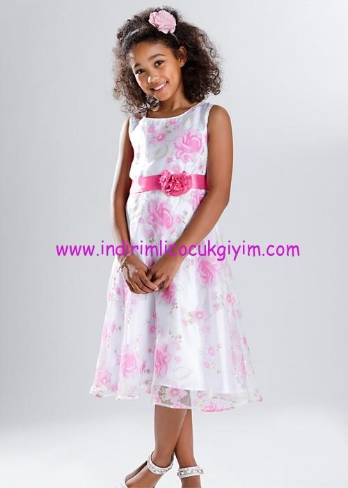 Bonprix kız çocuk beyaz çiçek desenli elbise