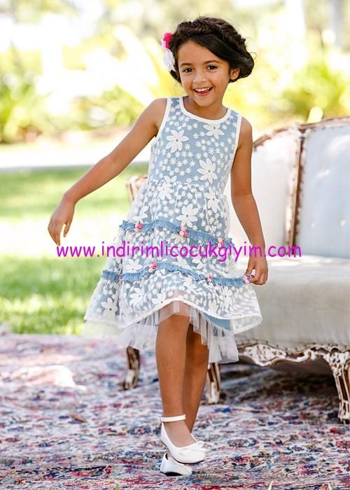 Bonprix kız çocuk mavi çiçek aplikeli elbise