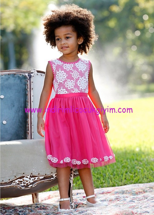 Bonprix kız çocuk pembe dantelli elbise