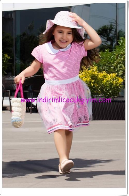 DeFacto kız çocuk pembe bebe yaka desenli elbise-45 TL