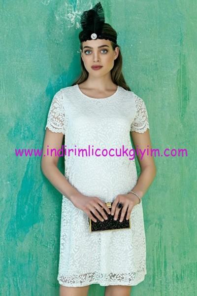 Ebru Maternity ekru dantel hamile abiye elbise