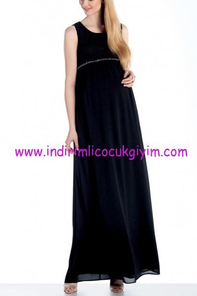 Ebru Maternity siyah uzun hamile elbise