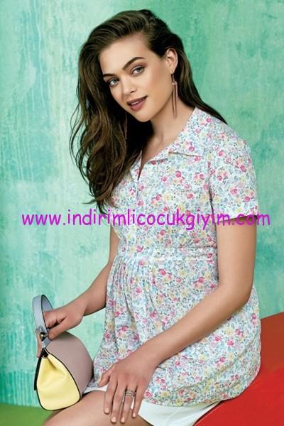 Ebru maternity kısa kollu desenli hamile bluz