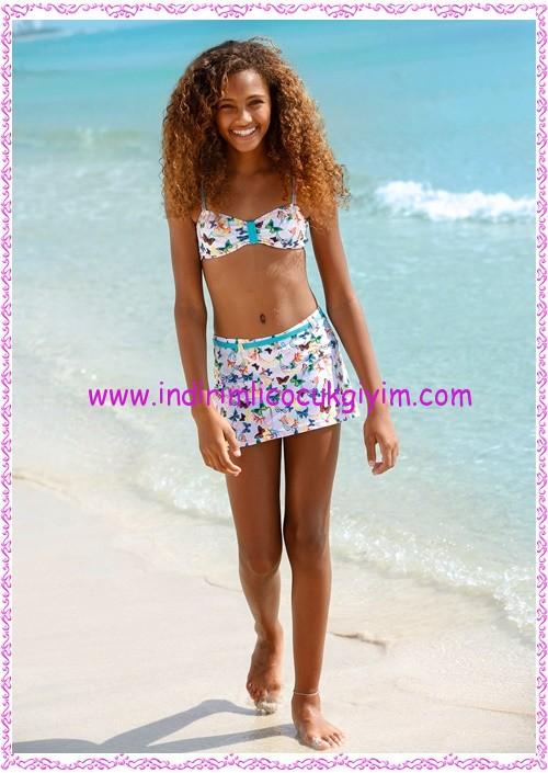 Bonprix desenli kız çocuk bikini-etek seti-90 TL