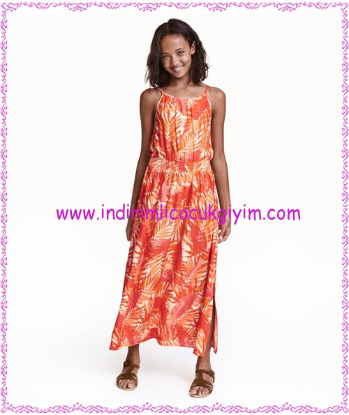 HM kız çocuk turuncu maksi elbise-40 TL