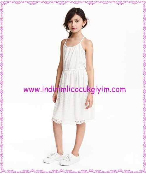 hm kız çocuk beyaz askılı yazlık dantel elbise-60 TL