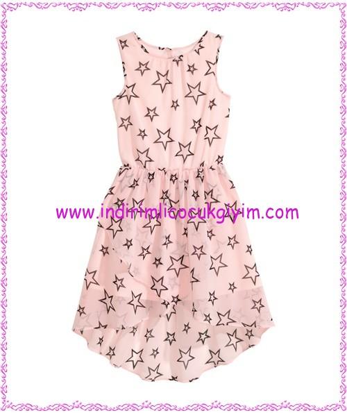 hm pembe yıldız desenli kız çocuk şifon elbise-60 TL