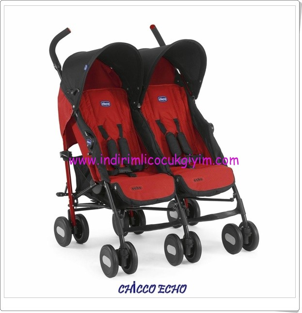 Chicco Echo kırmızı ikiz baston bebek arabası