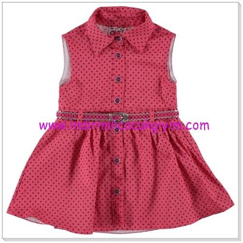 Civil kız çocuk nar çiçeği puantiyeli elbise