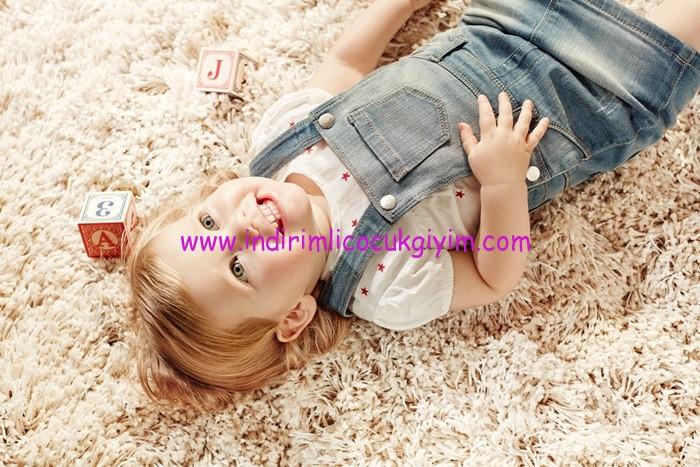 Koton kız bebek kot salopet elbise