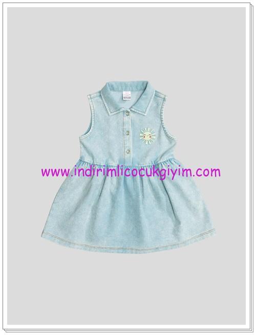 LCW kız bebek indigo düz elbise-25 TL