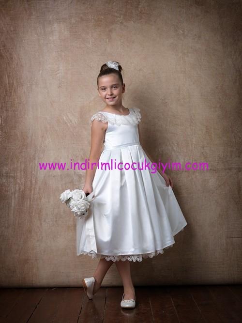 Little Fairy kız çocuk beyaz abiye elbise
