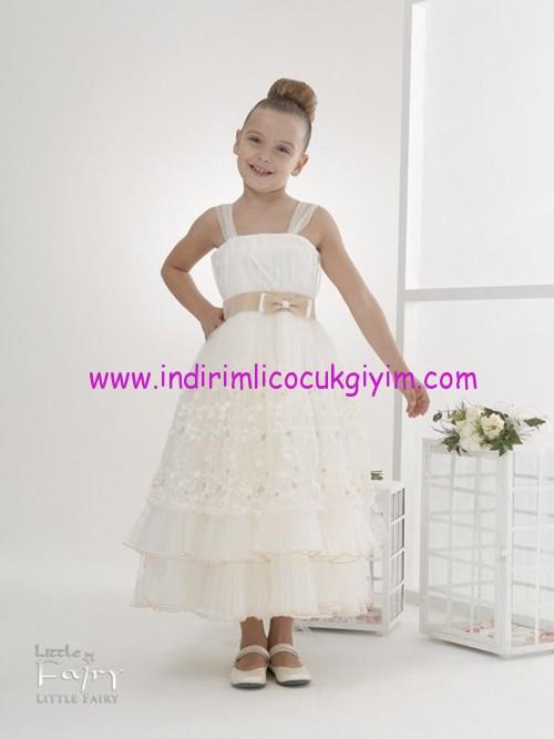 Little Fairy krem rengi dantelli kız çocuk abiye elbise