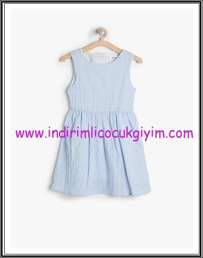 Koton kız çocuk mavi kolsuz elbise