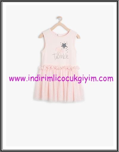 Koton kız çocuk pembe kolsuz elbise