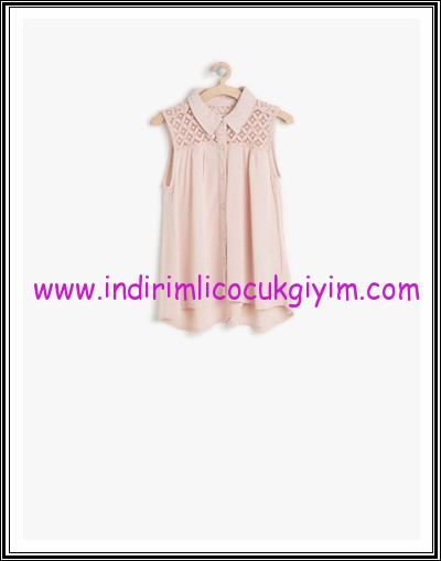 Koton kız çocuk pembe yaka detaylı bluz