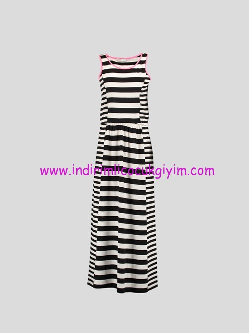 LC Waikiki siyah çizgili elbise