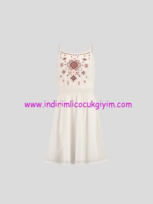 LCW genç kız işlemeli elbise