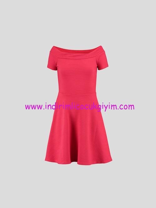 LCW genç kız mercan kayık yaka elbise