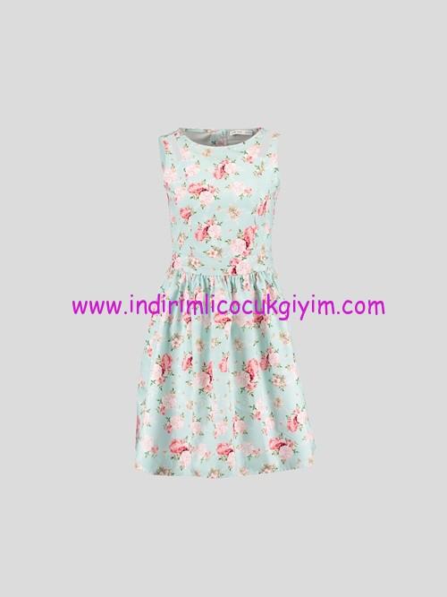 LCW genç kız mint çiçek desenli elbise