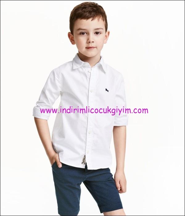 hm erkek çocuk beyaz gömlek