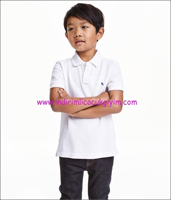 hm erkek çocuk beyaz pamuklu polo tişört