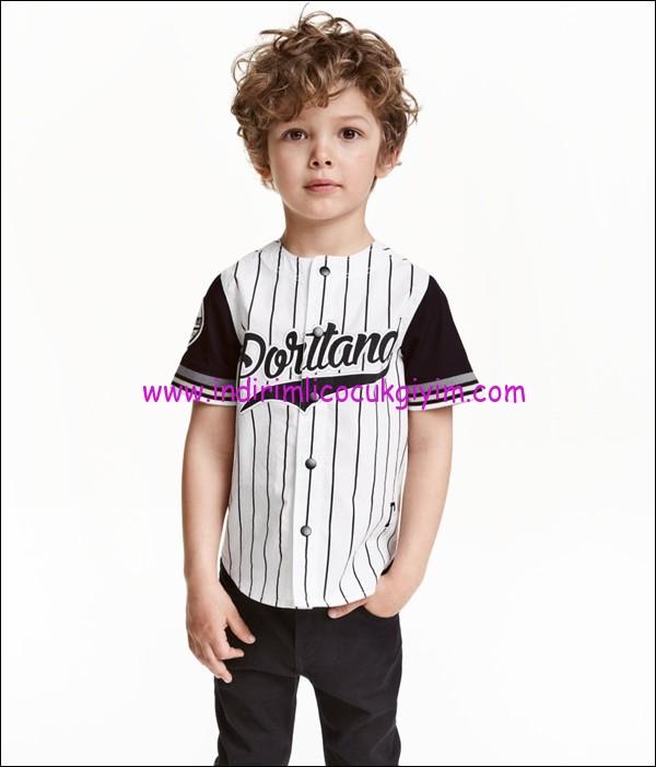 hm erkek çocuk beyzbol tişörtü