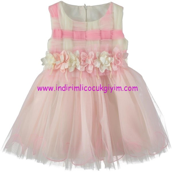 Civil 2-5 yaş pembe-beyaz abiye elbise