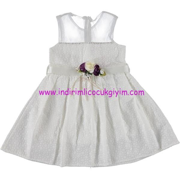 Civil 6-9 yaş kız çocuk ekru elbise