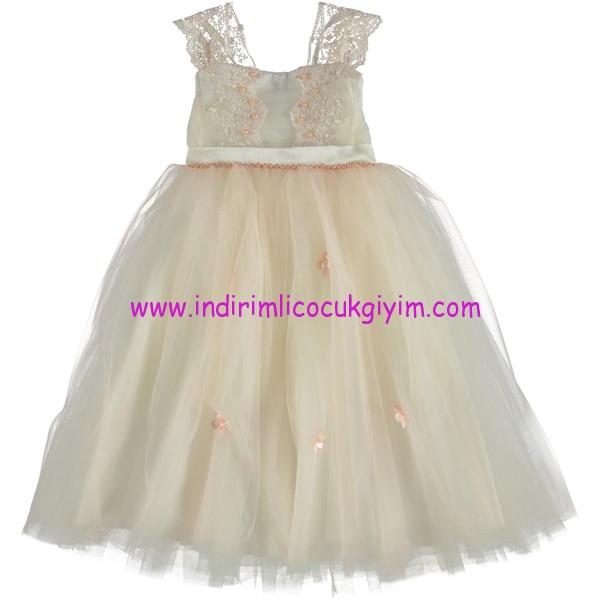 Civil kız çocuk dantel askılı abiye elbise