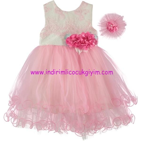 Civil kız çocuk pembe çiçek aplikeli elbise