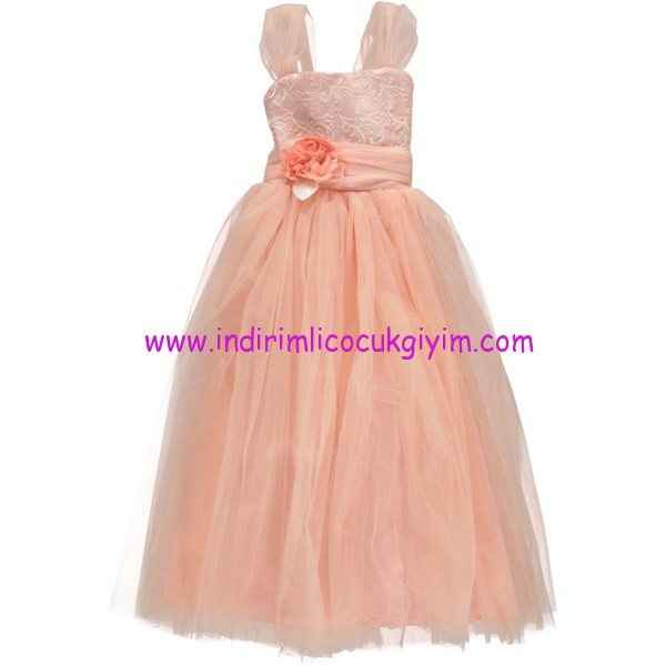 Civil kız çocuk somon tüllü abiye elbise
