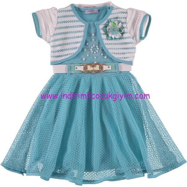 Civil kız çocuk turkuaz bolerolu elbise