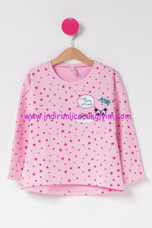 defacto yıldız baskılı kız çocuk pembe sweatshirt