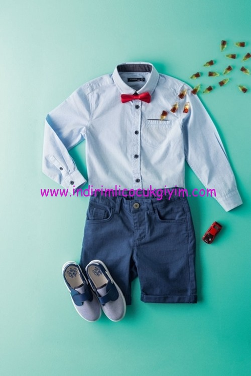 defacto erkek çocuk papyonlu gömlek-şort kombini